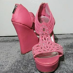 Bamboo pink high-heel wedged open-toe shoes